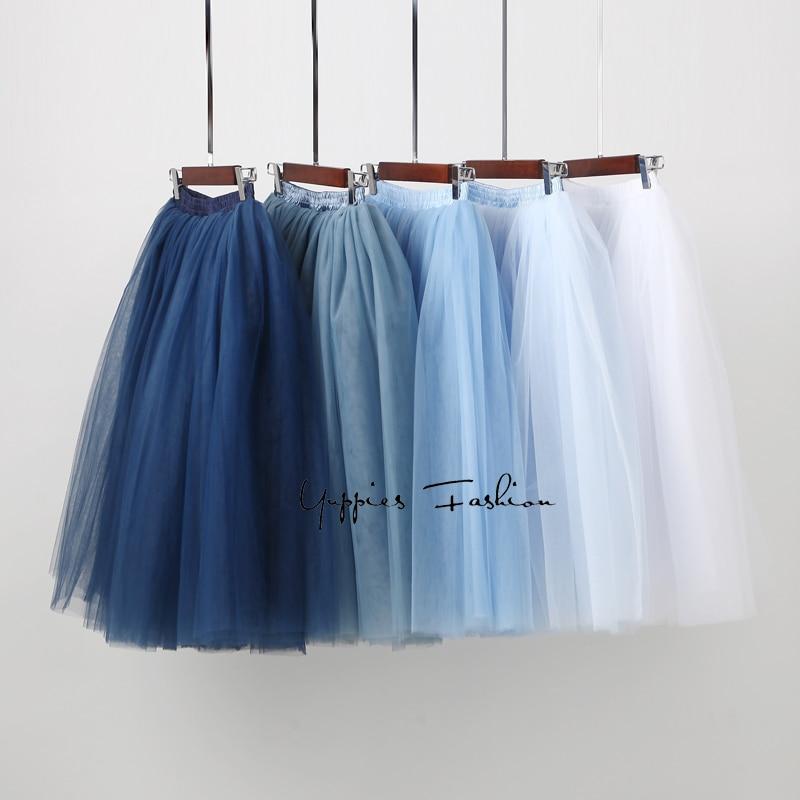 7 capas de Tulle Faldas Womens alta cintura Swing Dolly bola malla Tutu 2018 verano Midi falda Faldas Saias jupe
