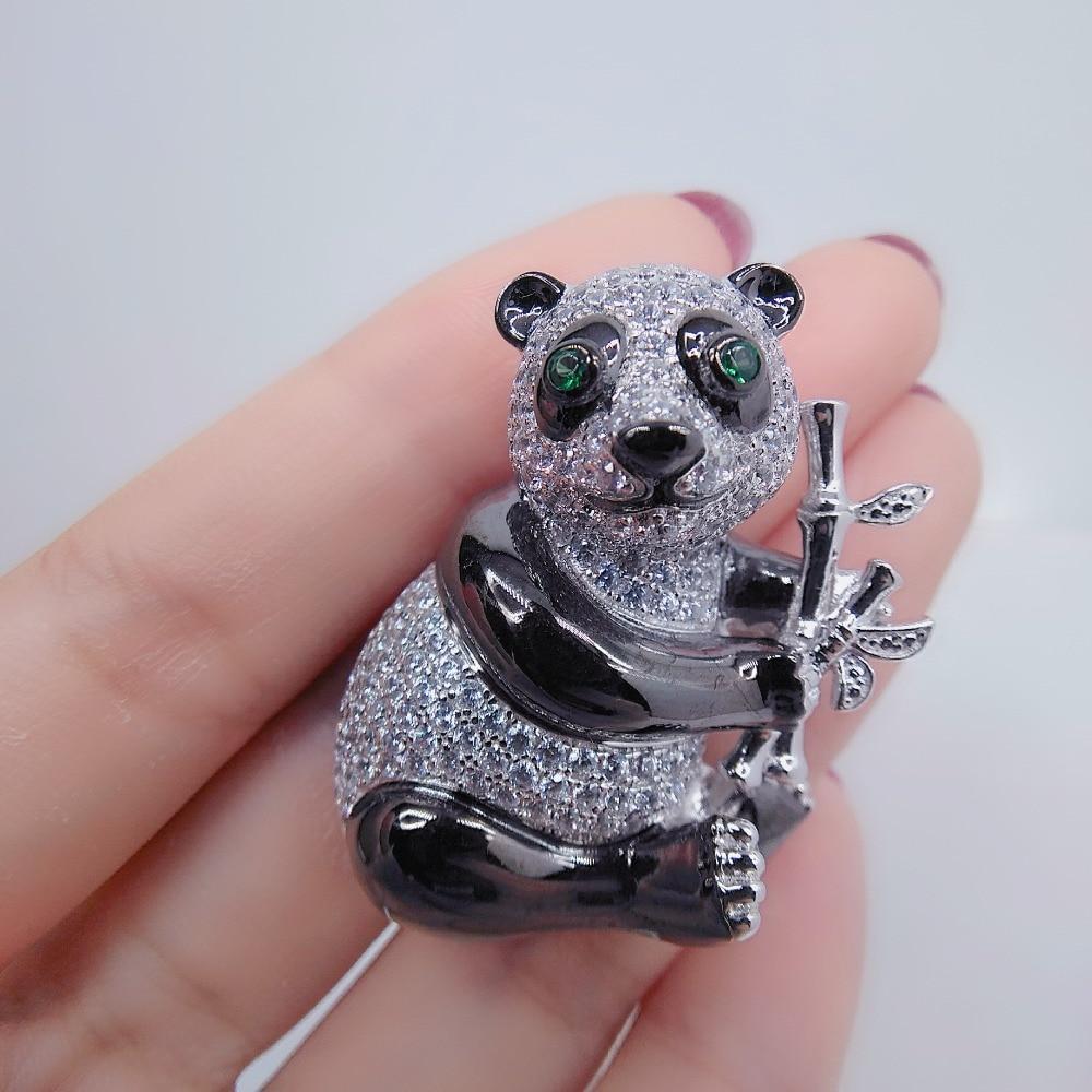 Qi Xuan_Panda broche Animal broche bambou broche S925 argent plaqué or blanc clouté à la main Simple mignon envoyer petite amie