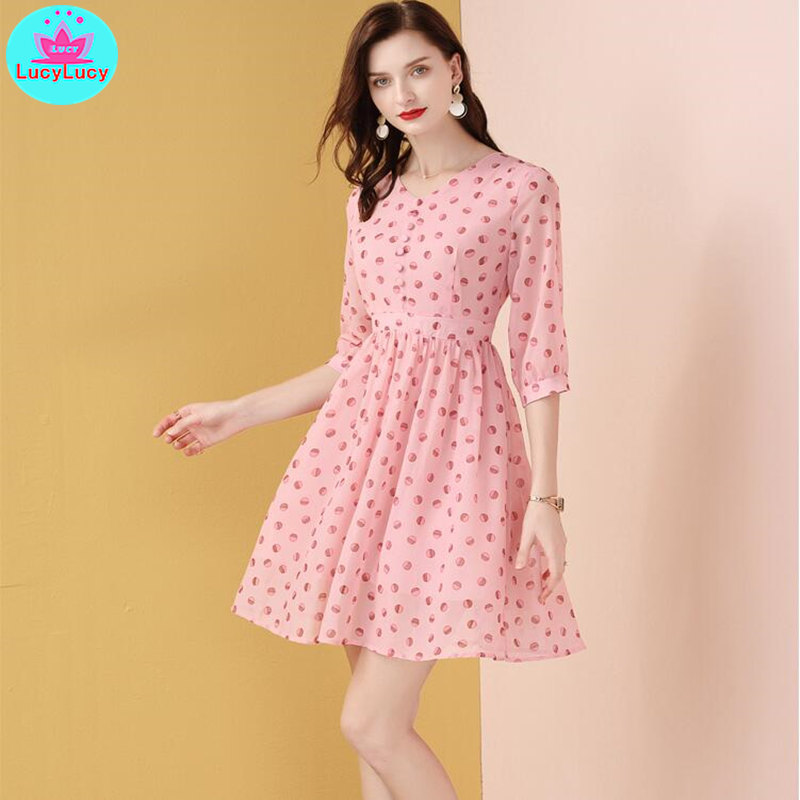 2019 summer new age reduced slim A line pink chiffon polka dot dress Knee Length Zippers in Dresses from Women 39 s Clothing