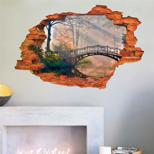 Vivid 3d Landscape Painting Window View Wall Sticker Bridge Tree Lake Living Room Office Decals For Couple New House Mural In Wall Stickers From Home