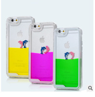 Free Shippingfor Iphone 5s 6s Dolphins Quicksand Following Transparent Liquid For Iphone6 Plus Following Suit