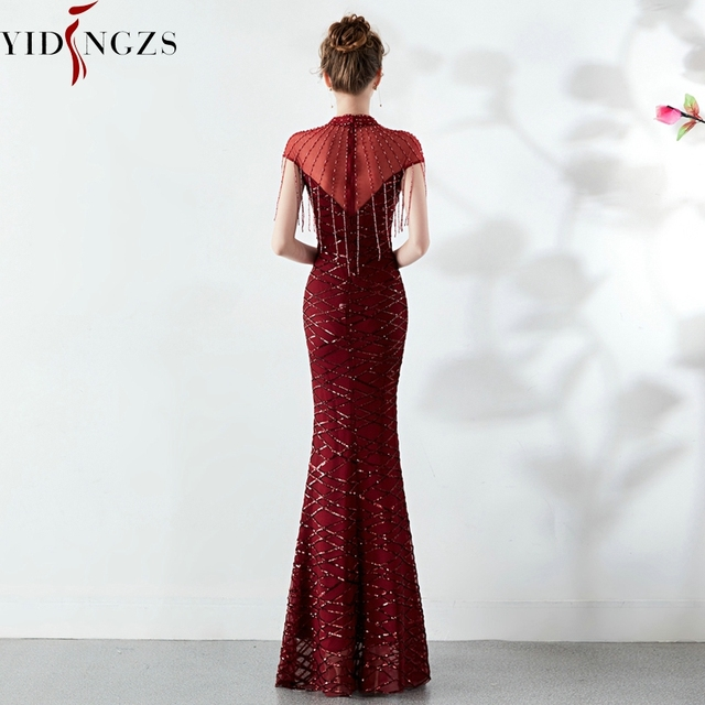 YIDINGZS Sequins Evening Dress See-through Back Elegant Beading Long Evening Party Dresses 1