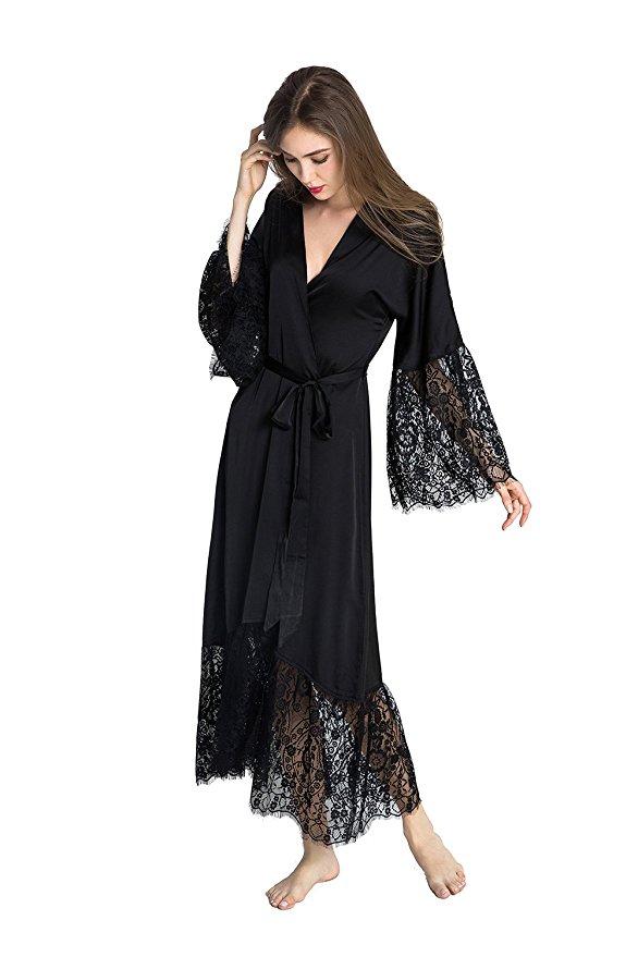 Summer Lace Patchwork Satin Kimono Robe Sexy Sleepwear Lingerie Chemises Women Silk Long Nightgown Wedding bridesmaid Robes 12