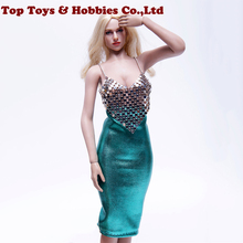 цена на 1/6 Scale sexy costume metal chain hanging chest deep V hip tight skirt suit Clothes Set F 12 inches female action figure Body
