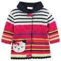 Catimini niñas ropa 2014 otoño niña manga larga rojo de dibujos animados de algodón tejidos de punto tee capa del suéter de la chicas enfant
