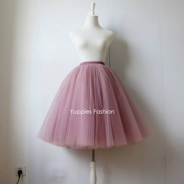 Yuppies moda 5 capas maxi largo faldas para mujer adultos de la alta cintura de la falda del tutú de tul vintage lolita enagua faldas saias jupe