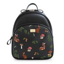 ENSSO Cartoon Vintage Animal Prints Deer Girl's Black PU Leather Mushrooms Embroidery Women's Shoulder Satchel Backpack Book Bag
