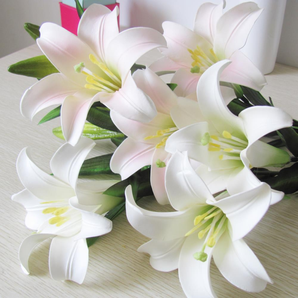 Free shipping high artificial lily perfume set floor rustic silk free shipping high artificial lily perfume set floor rustic silk flower decoration lily 3 flowers 2 buds in one pc9pcs lot in artificial dried flowers izmirmasajfo