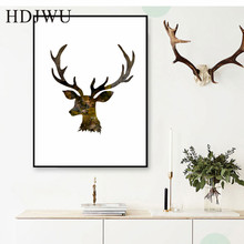 Simple Nordic Art Home Canvas Painting Aminal Elk Printing Posters Wall Pictures for Livingroom  Decor DJ269