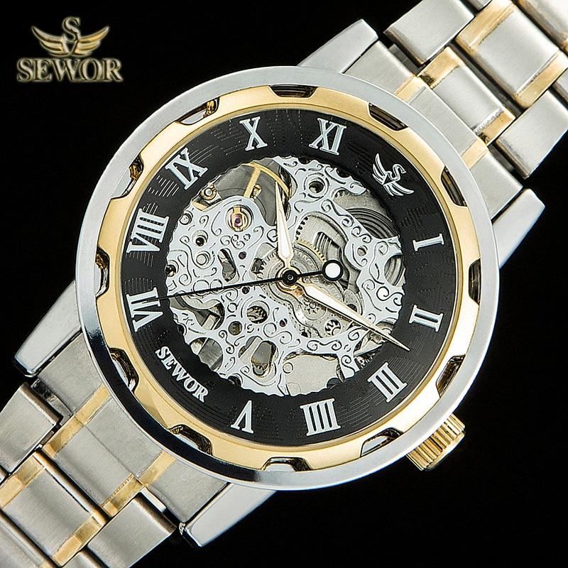 SEWOR Mens New Fashion Design Scheletro automatico meccanico orologio - Orologi da uomo