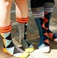 Clásico de hombre calcetines calcetines rombo estilo líneas larga de algodón otoño espesan calcetines de invierno para hombres felices marca elite medias
