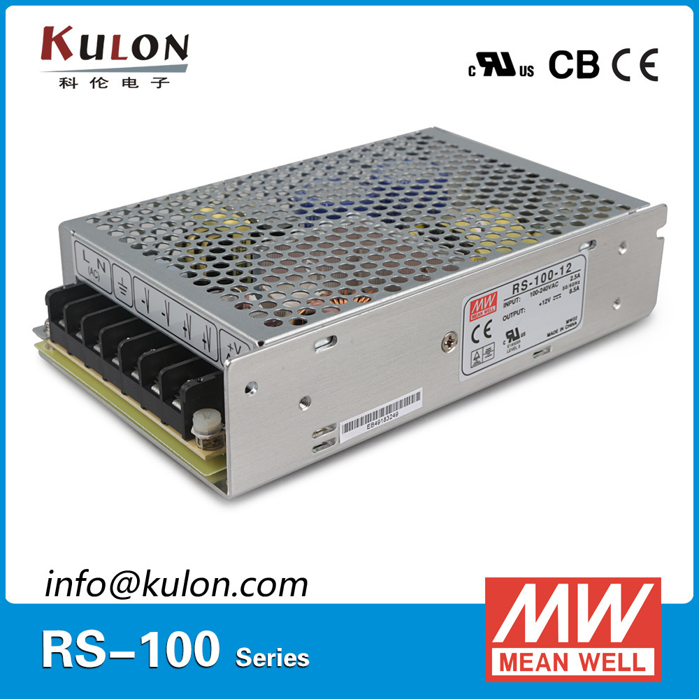 Meanwell RS-100 Single Output Power Supply 100W 3.3V/20A 5V/16A 12V/8.5A 15V/7A 24V/4.5A 48V/2.3A 88-264VAC CB UL CE approved 150w switching power supply 5v 12v 15v 24v 48v high efficiency low costs single out metal case ce approved 1pc ac85 264vin