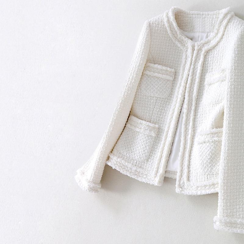 White wool tweed jacket 2019 spring autumn women s new coat socialite Slim jacket one piece