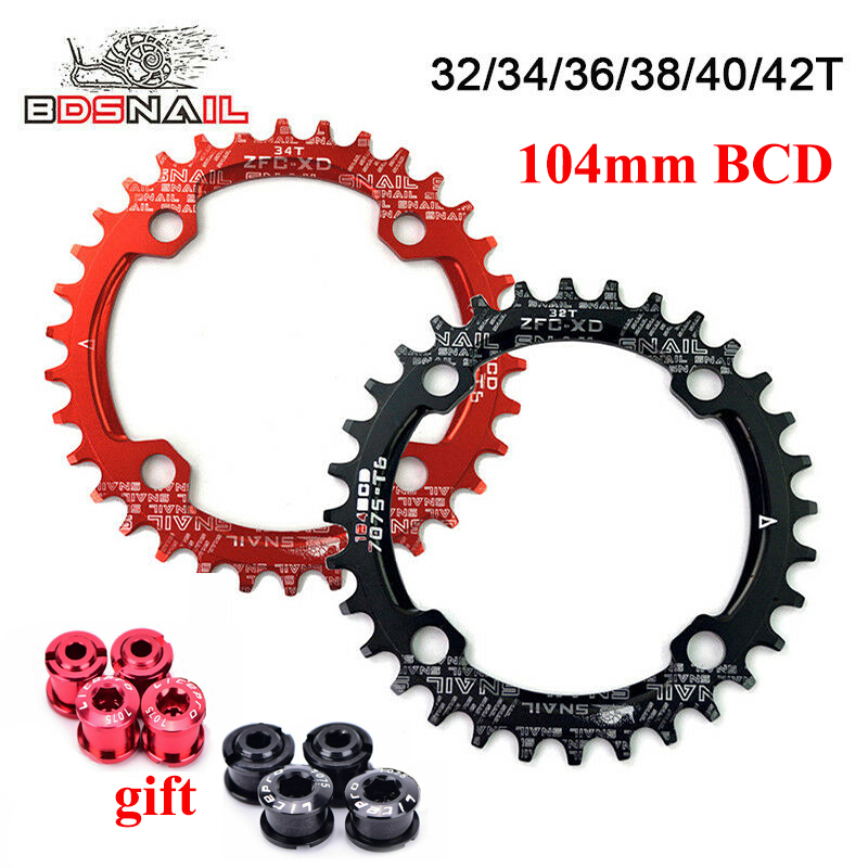 MTB Road Bike Narrow Wide Chainring Chain Ring BCD 104mm 30 32 34 36 38 40 42T
