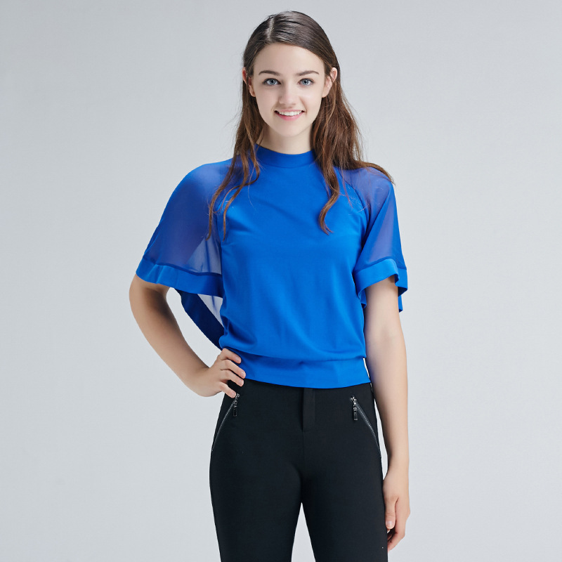 Bootyjeans 2017 Spring Autumn Fashion T shirt Women's Batwing Half Sleeve Black Blue T shirts Turtleneck Tops Short Design Tees