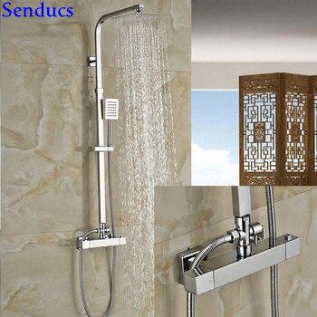 Senducs Thermostatic Shower Set LUXURy Suqare Thermostatic Shower Set with Top Quality Solid Brass Bathroom Shower Set