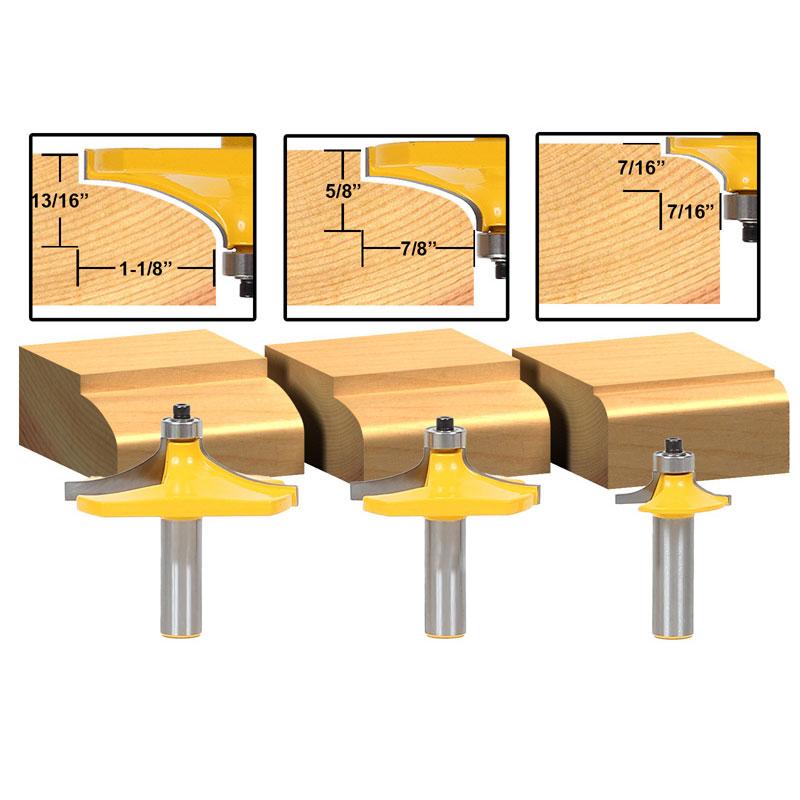 3pcs/set Bit Table Edge Thumbnail Router Bit Set - 1/2 Shank 3pcs set bit table edge thumbnail router bit set 1 2 shank