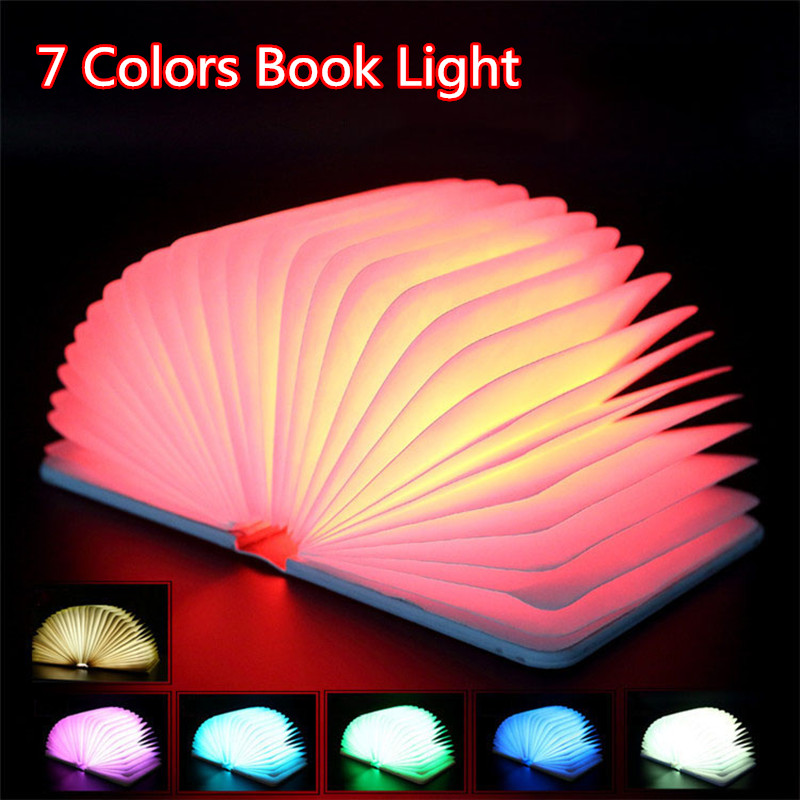 7 Changing Colors Mini LED Book Light PU Leather USB Energy Saving Night Lights Folding Portable Book Reading Table Lamp Decor yimia creative 4 colors remote control led night lights hourglass night light wall lamp chandelier lights children baby s gifts