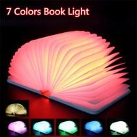7 Changing Colors Mini LED Book Light PU Leather USB Energy Saving Night Lights Folding Portable