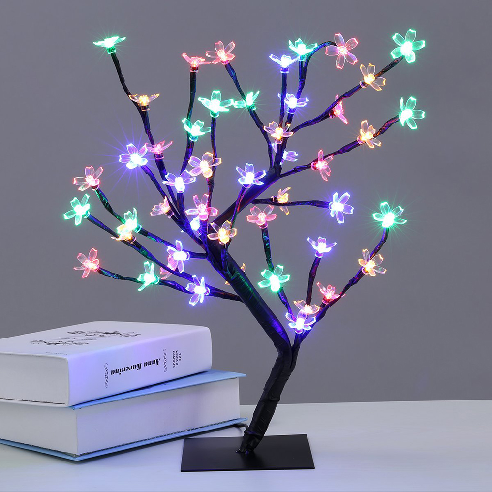 Nya 48 leds Cherry Blossom Desk Top Bonsai Tree Light White 0.45M - Festlig belysning