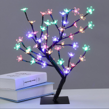 Nye 48 leds Cherry Blossom Desk Top Bonsai Tree Light hvid 0.45M Black Branches Festival Home Party Bryllup Indendørs Udsmykning