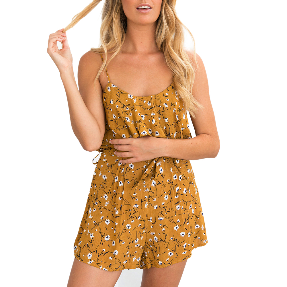 2017 Newest Women Summer Chiffon Playsuits Sleeveless Backless Rompers Flower Printed Casual Shorts Female Playsuit With Belt 1