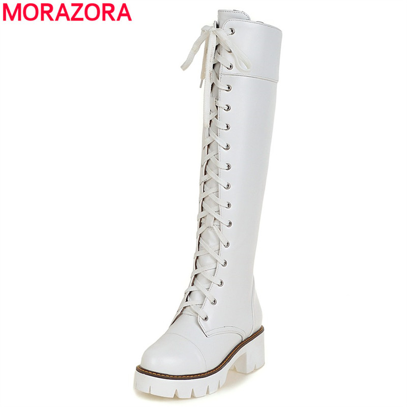MORAZORA Plus size 34-43 new fashion lace up women boots PU soft leather knee high boots platform ladies autumn motorcycle boots
