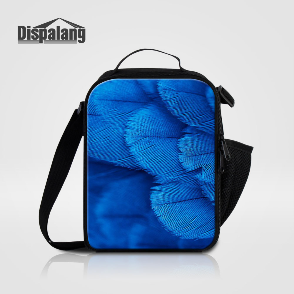 Dispalang Thermos Cooler Kids Lunch Bag Feather Printed Lunch Box for Girls School Student Lunchbag Lancheira for Women Food Bag