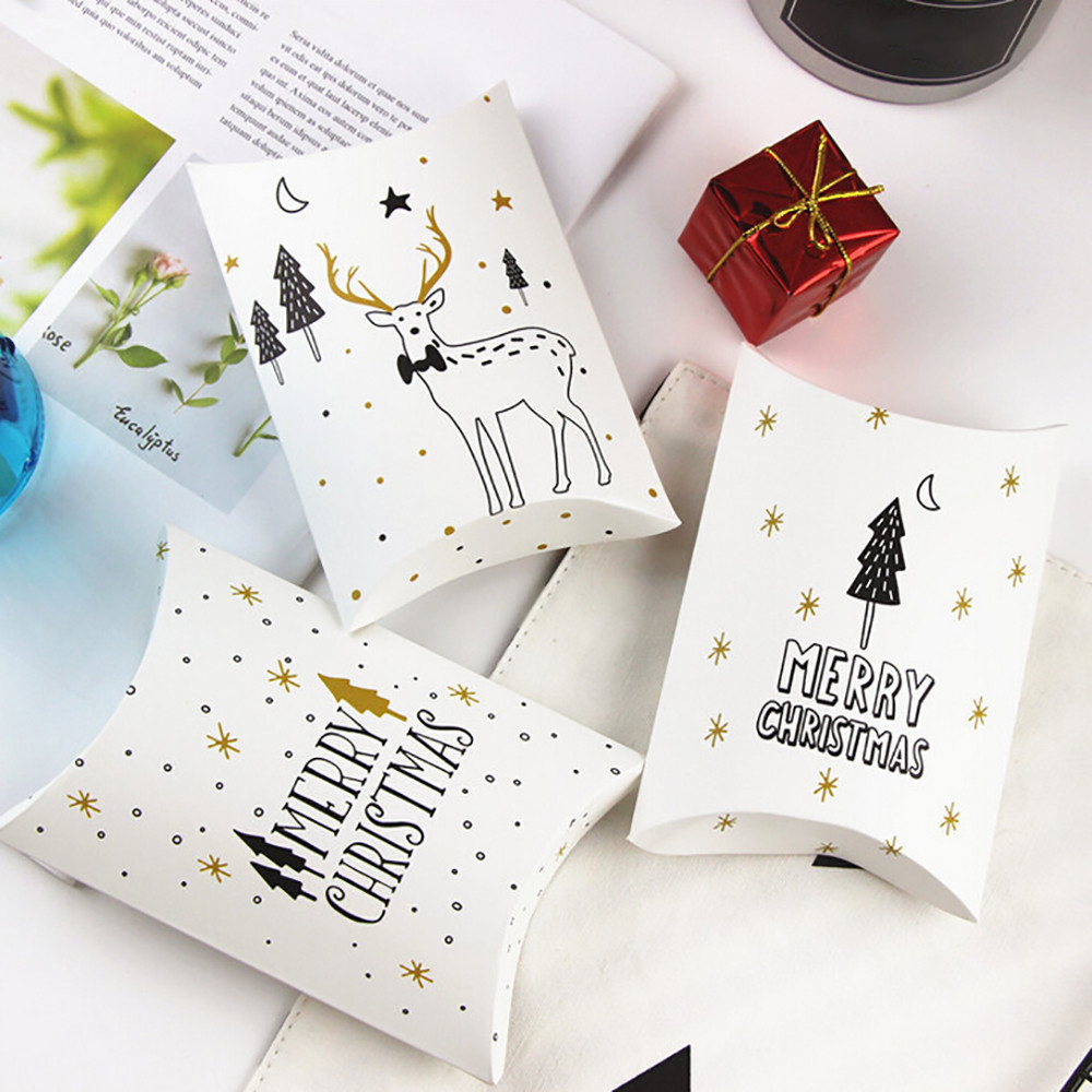 Christmas Candy Gift Boxes Deer Xmas Tree Guests Packaging Boxes Gift Bag Paper 10x11x2.8cm Christmas Candy Box#35