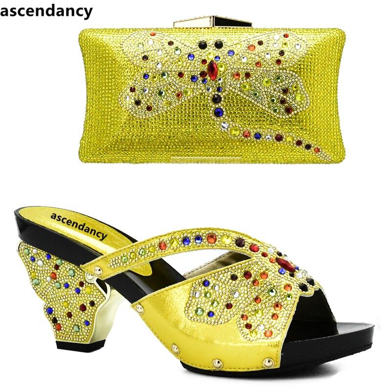 8f7547e64523b6 Pour Arrivée Italie Chaussures Talons Couleur jaune Ensemble Assorties Mis  Femmes pourpre Jaune Sacs Et En ...