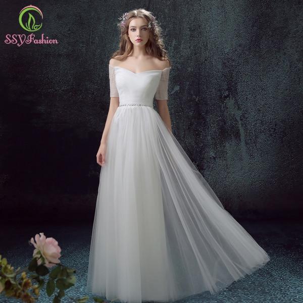 SSYFashion White Evening Dress The Bride Banquet Elegant Sweetheart ...