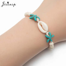 Jisensp Lucky Jewelry Bohemian Beach Seashell Rope Bracelets Vintage Cowrie Shell Beaded Bracelets for Women Girls Best Gift(China)