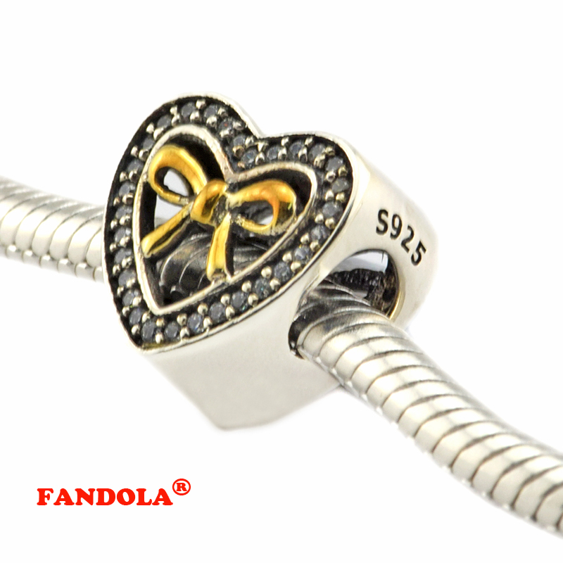 Fit Pandora Bracelets Knot Bound By Love Heart Beads with Clear CZ Authentic 925 Sterling Silver Charms Jewelry CK377K