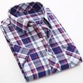 Camisas de tela escocesa de Los Hombres Camisa de Vestir Masculina 2016 Camisa Social Camisa de Manga Corta Slim Fit Hombres Ropa de Talla grande