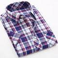 Plaid Shirts Men Dress Shirt Male 2016 Camisa Social Short Sleeve Shirt Slim Fit Mens Clothing Plus Size
