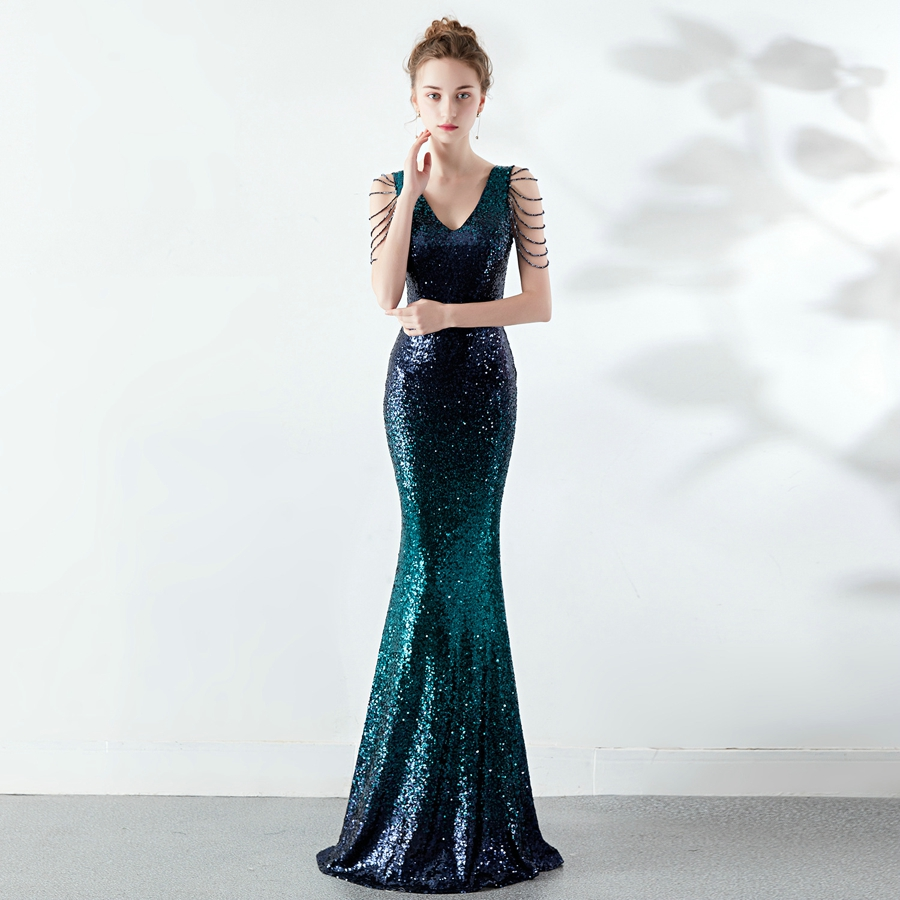 YIDINGZS Sexy V-neck Green Sequins   Prom     Dress   Women Elegant Crystal Long Party   Dress