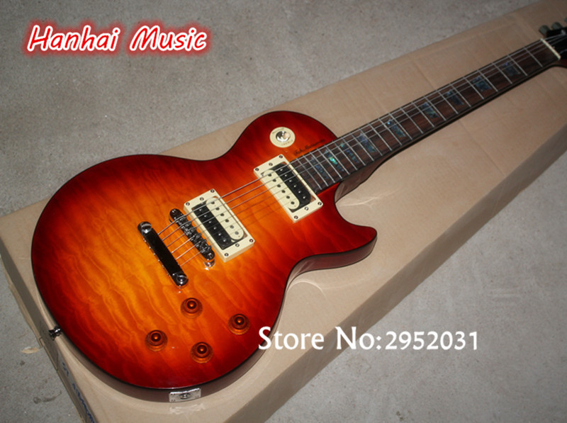 the lowest price hot electric guitar tobacco sunburst color quilted maple veneer 2 open. Black Bedroom Furniture Sets. Home Design Ideas