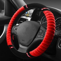 New Plush Car Steering Wheel Cover Winter Silver Fox Flocked Car Handlebar Sets