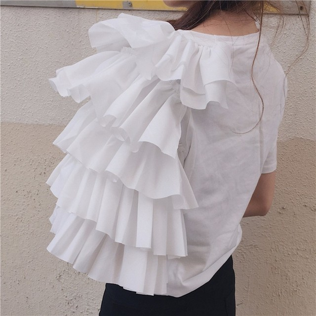 TWOTWINSTYLE Ruffles Print T Shirt Female O Neck Short Sleeve Patchwork T Shirts 2018 Summer Womens Casual Big Size Clothing 5