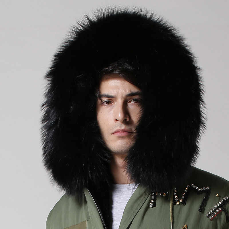 80642e6528d ... UK style army green coat black inside long jacket real big raccoon fur  collar with faux