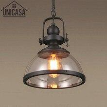 Vintage lámpara de techo ámbar Cocina LED colgante de cristal sombra luces Metal gran tienda arte Decoración Oficina iluminación de bar