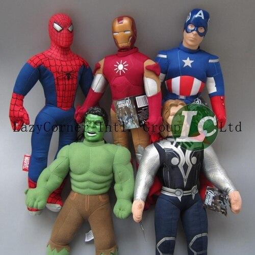 Super Heros 5 pçs/lote 45 cm Vingadores Homem De Ferro Hulk Thor Capitão América Homem Aranha de Brinquedo de Pelúcia Recheado Dolls com Plástico cabeça