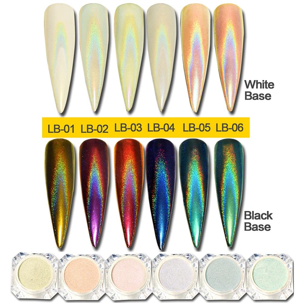 0.5g camaleão prego brilho poeira espelho efeito arte do prego cromo pigmento holográfico unhas em pó manicure decorações BELB01-06