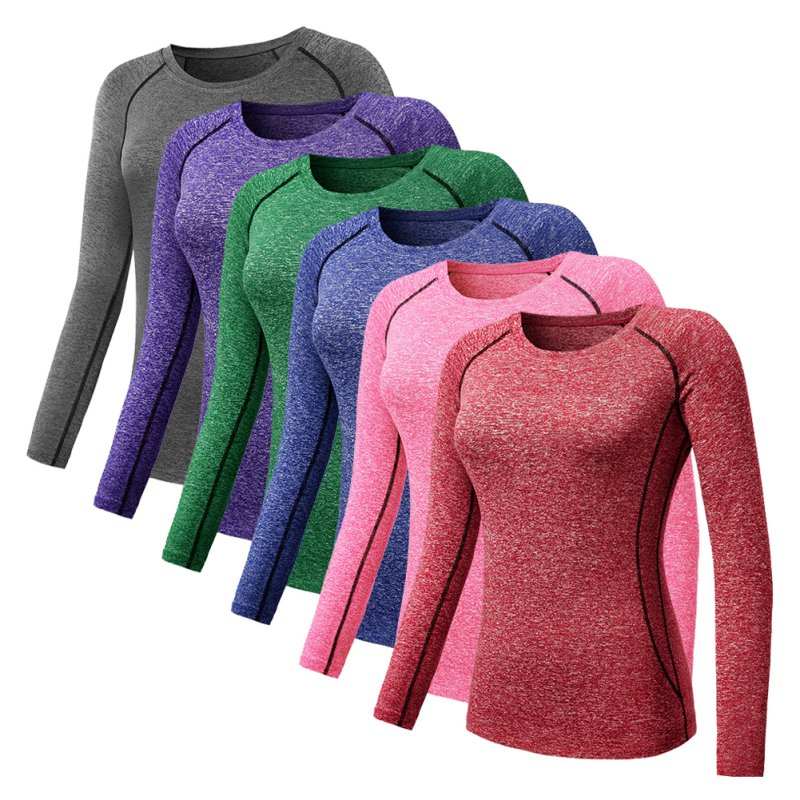 Women Long Sleeve Sports Compression T-Shirt Quick-Dry Gym Yoga Running Tops Tee 1