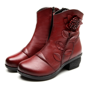 Image 5 - GKTINOO 2019 秋冬レトロブーツ手作りアンクルブーツ本物の革の靴 Botines Mujer 女性靴の女性のブーツ