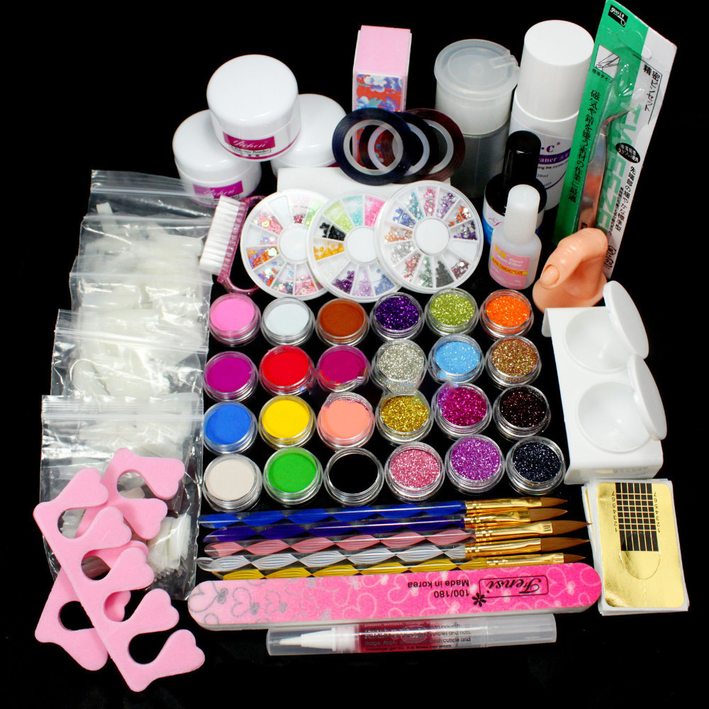 Free Shipping Nail Art Acrylic Powder Glitte Liquid Tips Brush Glue Dust Form Tool KITS Set For Professionals