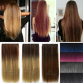 "Fashion 24"" One Piece Straight Ombre Clip In Hair Extensions Synthetic False Hair Hairpiece postiche cheveux For Women Girls B40"