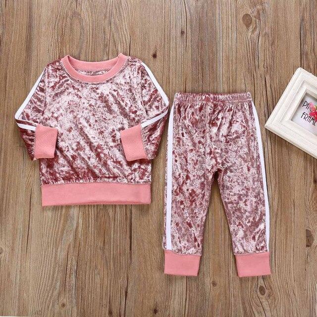 Trẻ em của quần áo cô gái Dài Tay Áo Quần Áo o-cổ Rắn Đặt Áo + Quần Trang Phục bé mùa thu phù hợp với mùa đông ropa para adolecentes