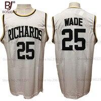 Bonjean дешевые Дуэйн Уэйд 25 # Джерси выделяет Ричардс школы Майки спортивные возврат БЕЛЫЕ РУБАШКИ