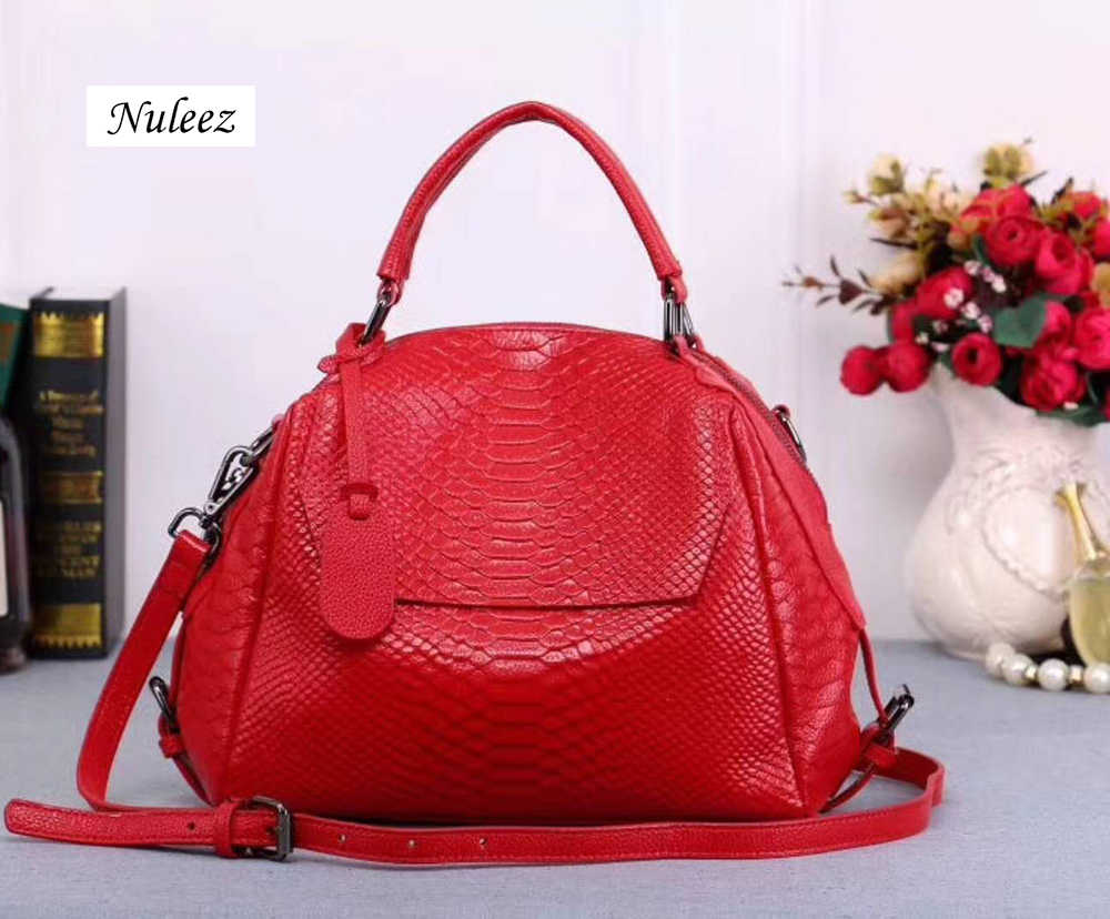 3d6c02f10496 Nuleez genuine leather cowhide serpentine tote bag fashion large capacity  for office lady 2018